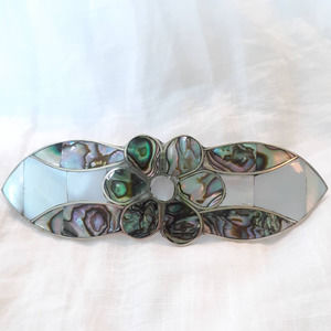 Abalone Mother of Pearl Floral Hair Clip Barrette